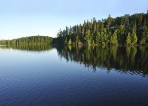 lake trees hills